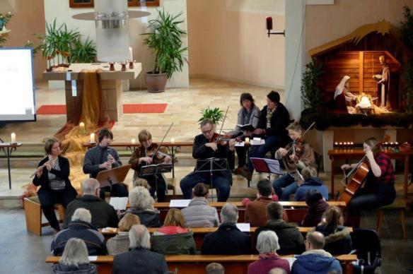 Singen Musiker Krippe Leute