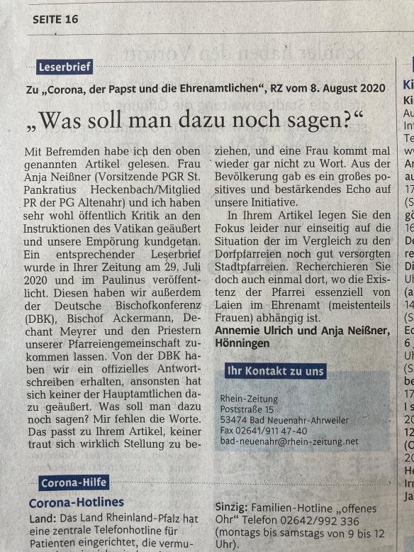 Leserbrief Rhein-Zeitung vom 15.08.2020