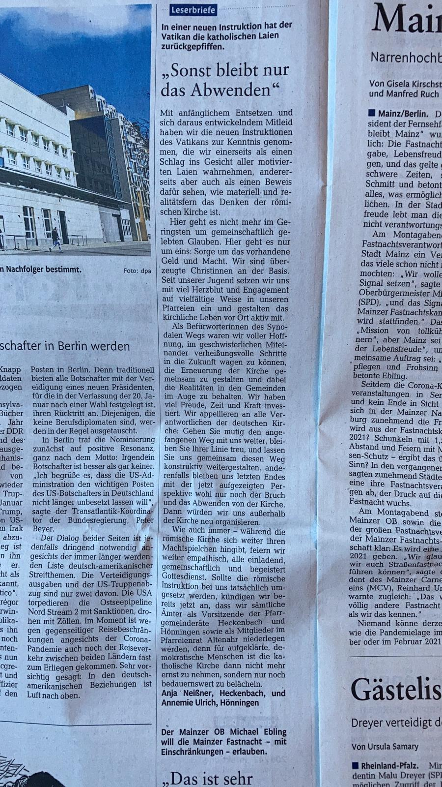 Leserbrief Rhein-Zeitung vom 29.07.2020