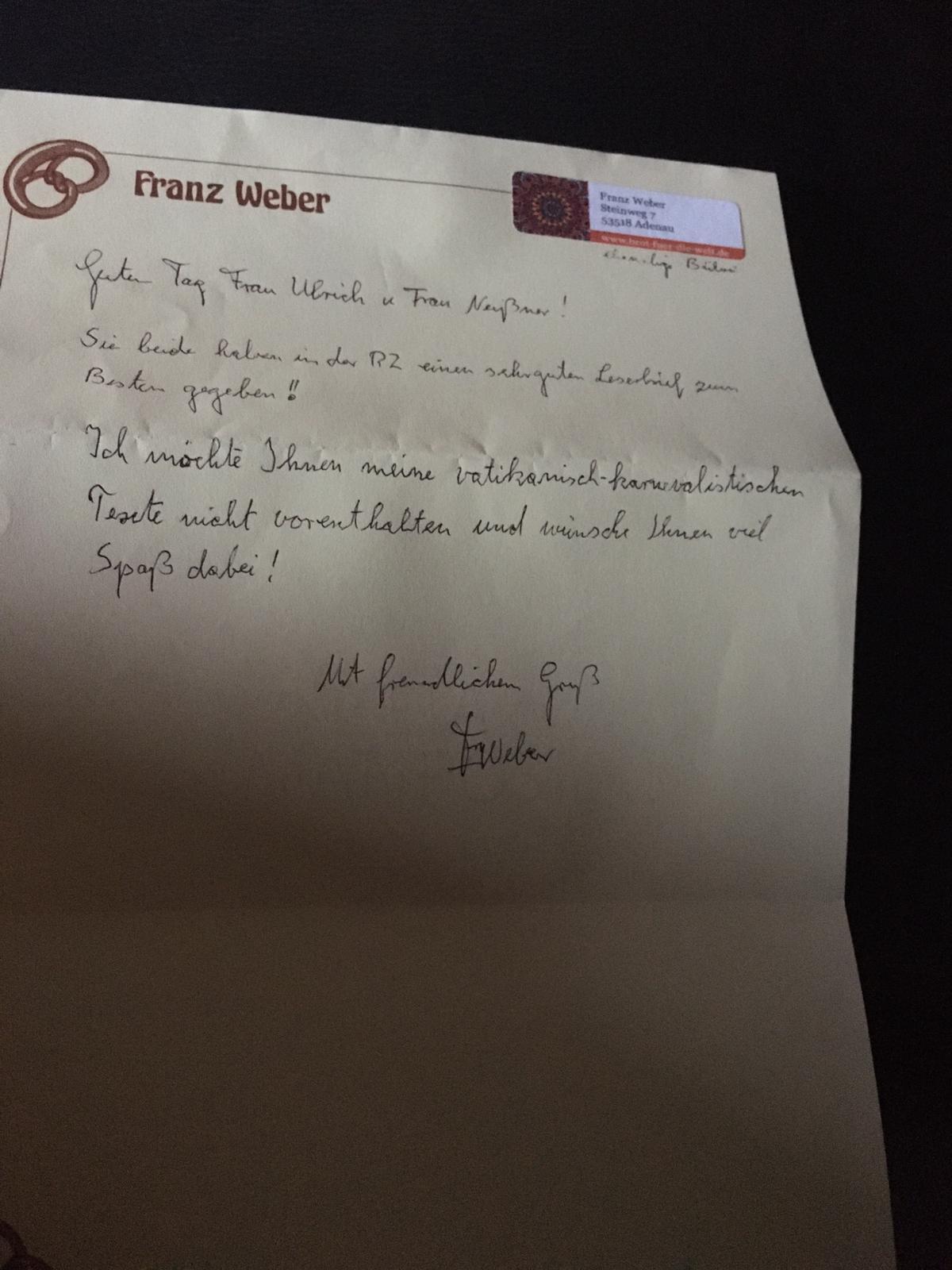 Brief - Franz Weber, Adenau